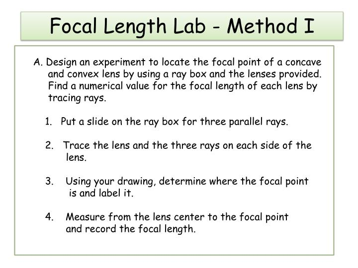 Focal length lab method i