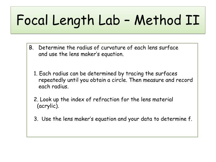 Focal length lab method ii