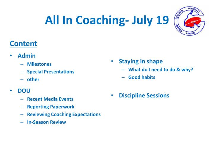 All in coaching july 19