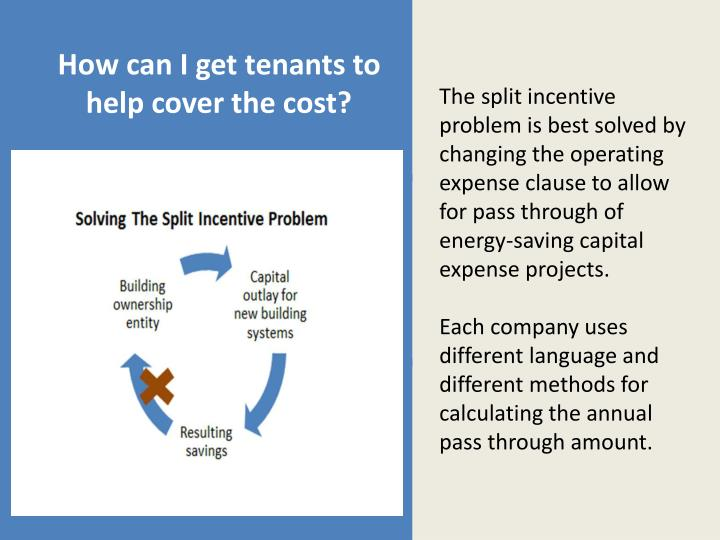 How can i get tenants to help cover the cost
