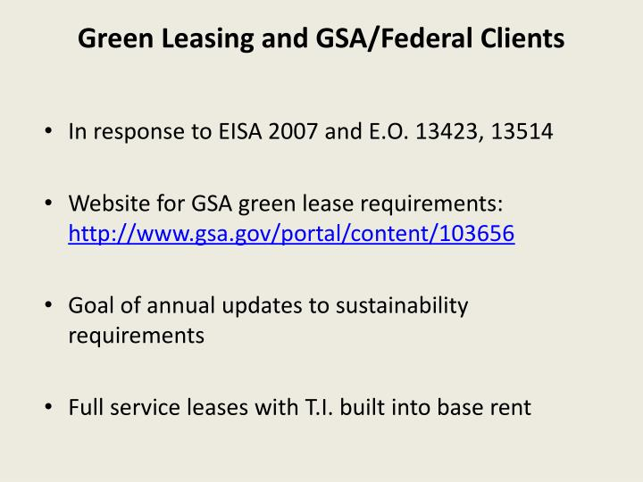 Green Leasing and GSA/Federal Clients