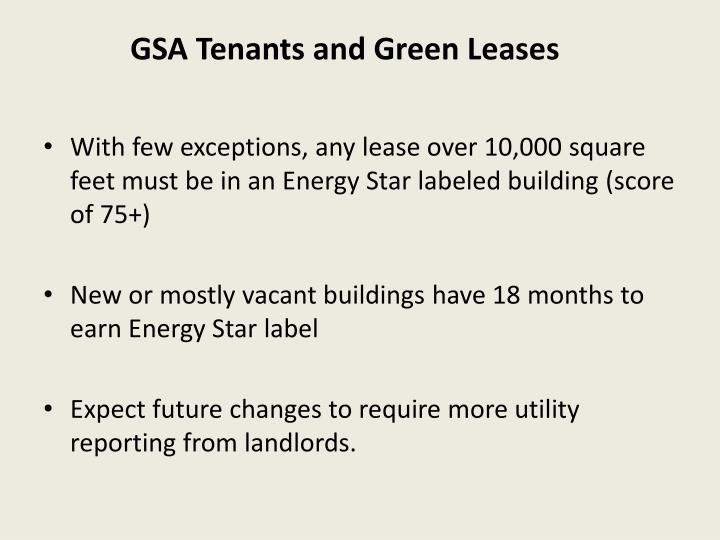 GSA Tenants and Green Leases