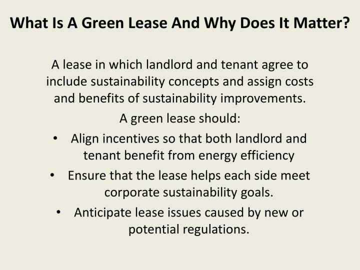 What is a green lease and why does it matter