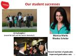 our student successes