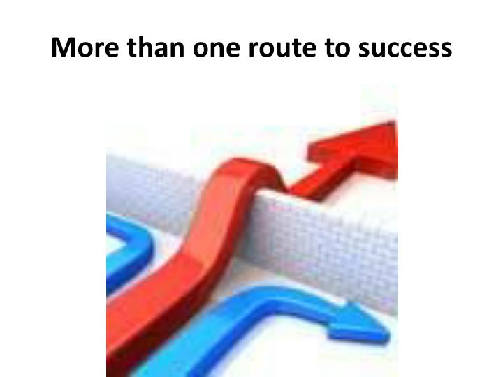 More than one route to success