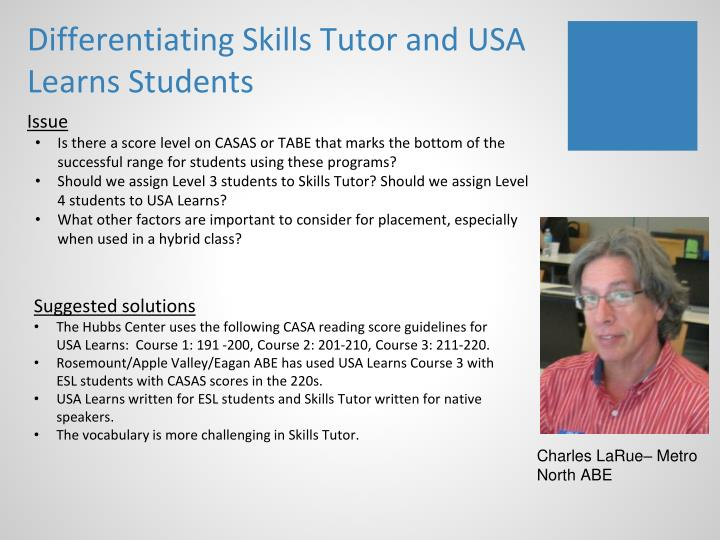 Differentiating Skills Tutor and USA