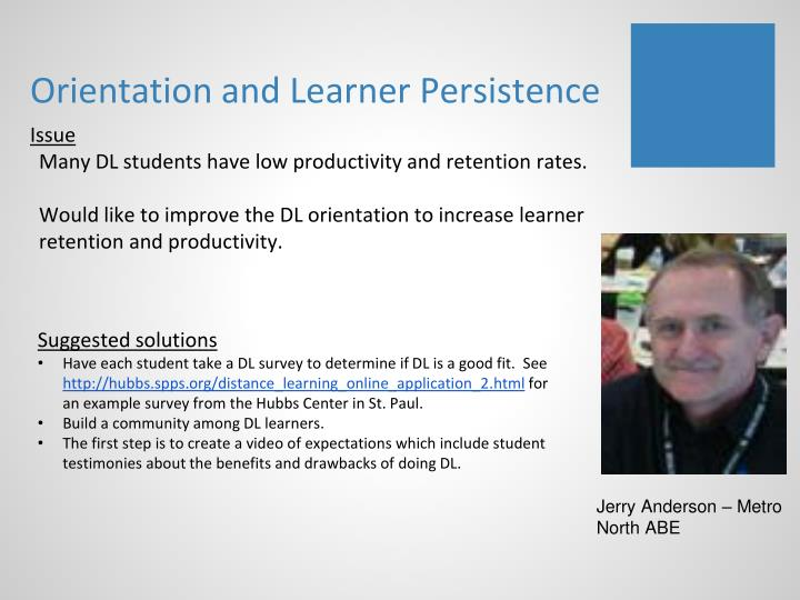 Orientation and Learner Persistence