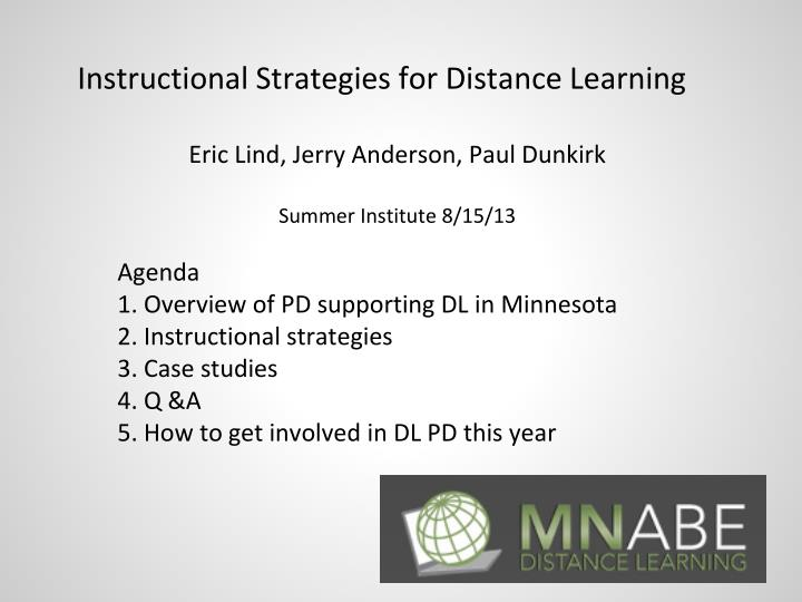 Instructional Strategies for Distance Learning