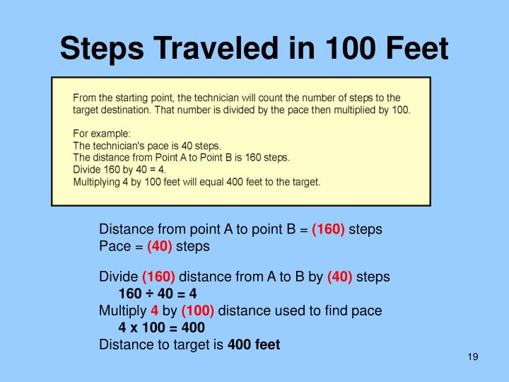 Steps Traveled in 100 Feet