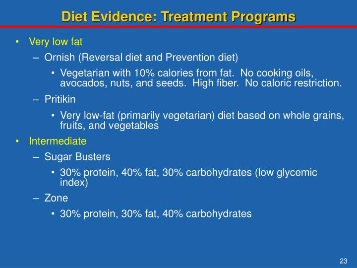 Diet Evidence: Treatment Programs