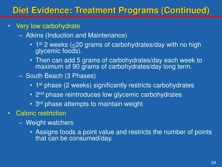 Diet Evidence: Treatment Programs (Continued)