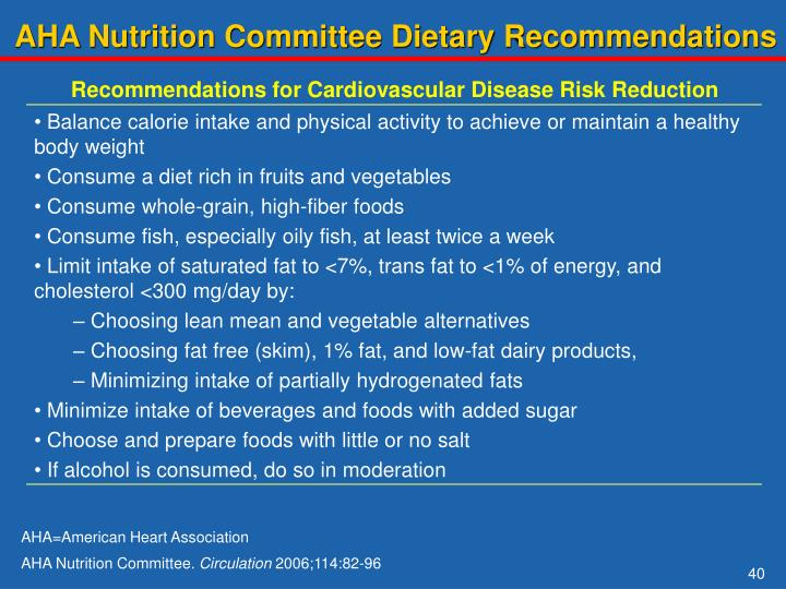 AHA Nutrition Committee Dietary Recommendations