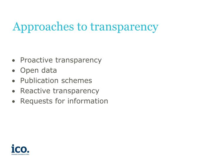 Approaches to transparency