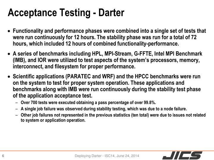 Acceptance Testing - Darter