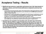 acceptance testing results