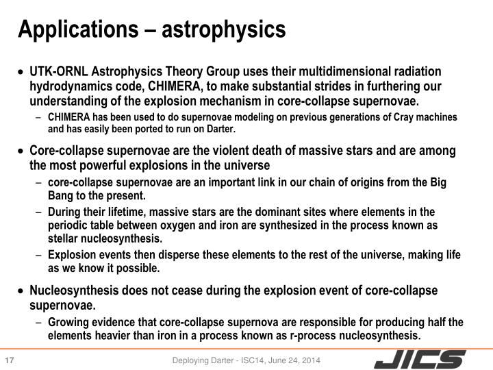 Applications – astrophysics