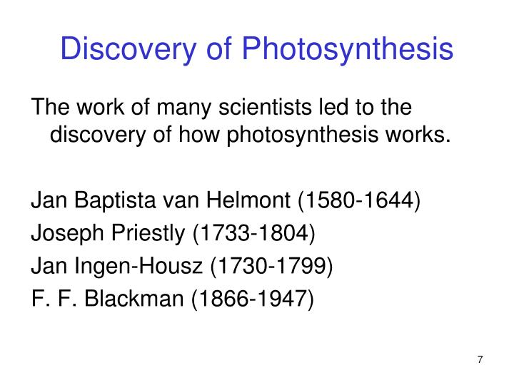 Discovery of Photosynthesis