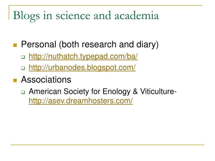 Blogs in science and academia
