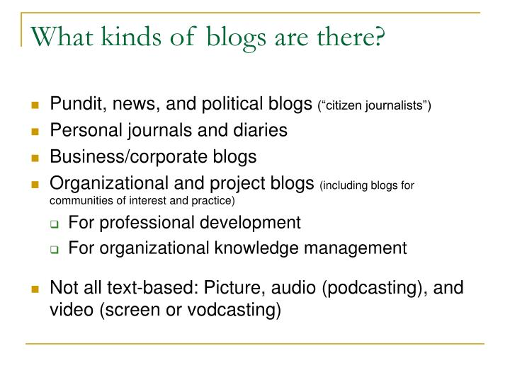 What kinds of blogs are there?