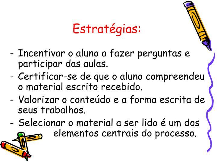 Estratégias: