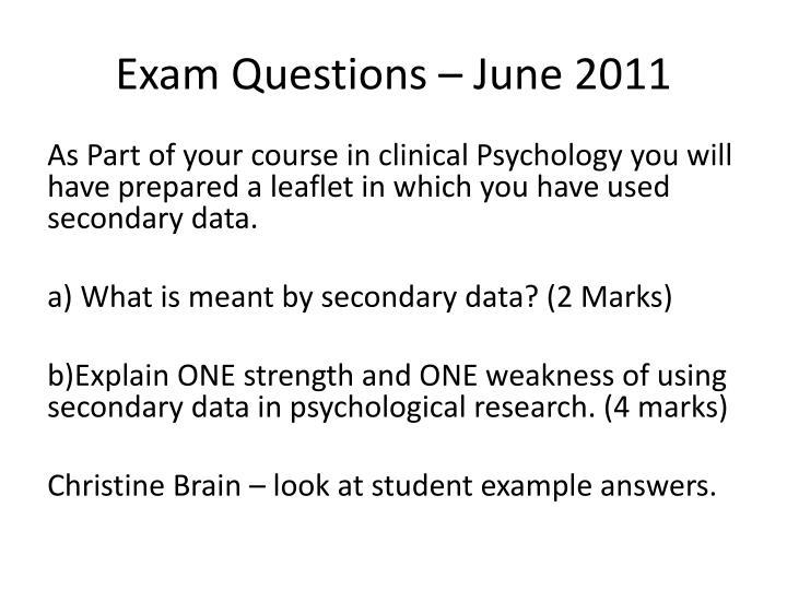 Exam Questions – June 2011