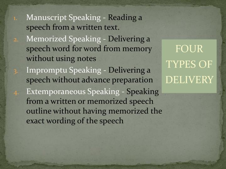 Manuscript Speaking