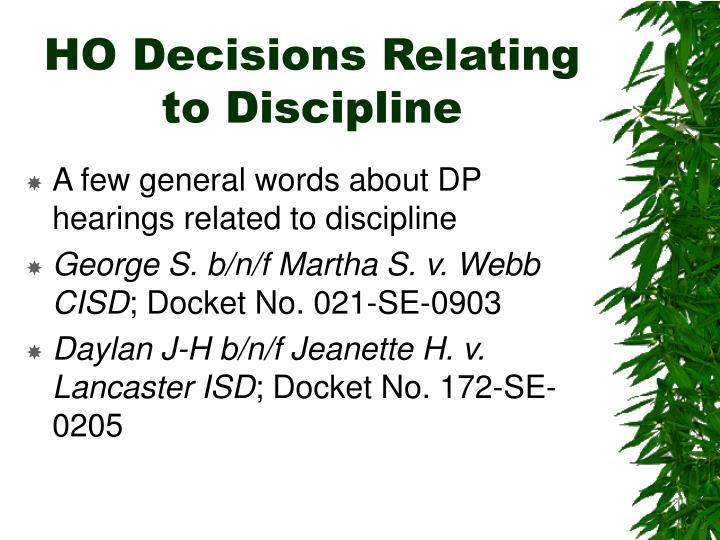 HO Decisions Relating to Discipline
