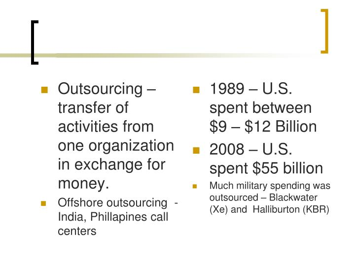 Outsourcing – transfer of activities from one organization in exchange for money.