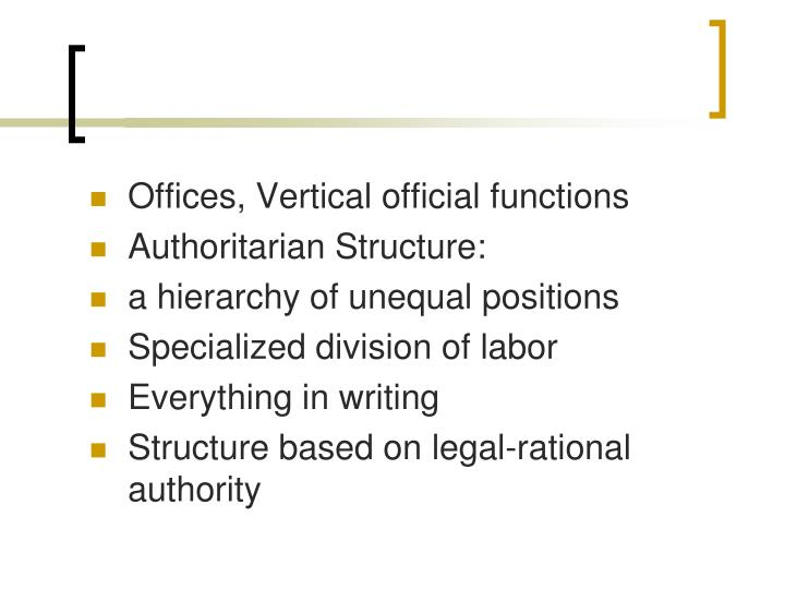 Offices, Vertical official functions