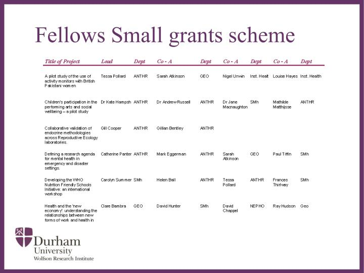 Fellows Small grants scheme