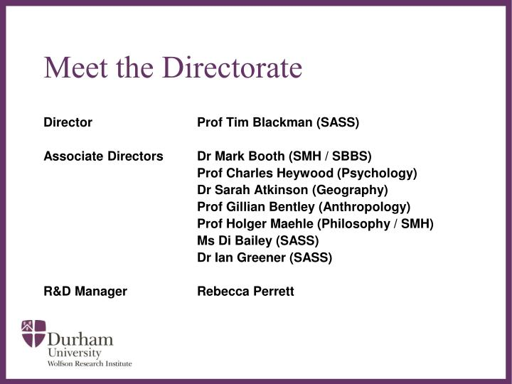 Meet the directorate
