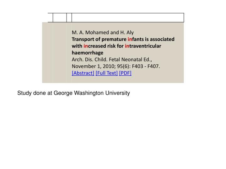 Study done at George Washington University