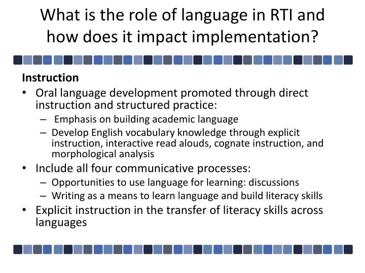What is the role of language in RTI and how does it impact implementation?