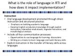 what is the role of language in rti and how does it impact implementation