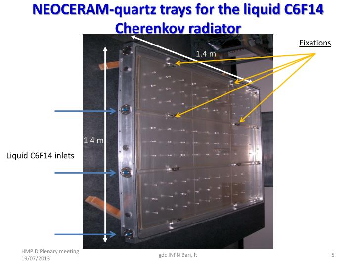 NEOCERAM-quartz trays for the liquid C6F14