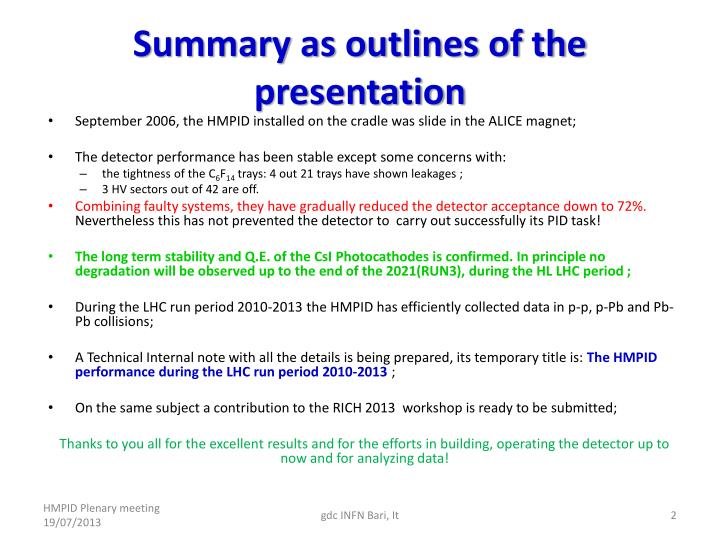 Summary as outlines of the presentation