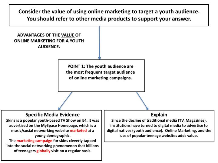 Consider the value of using online marketing to target a youth audience. You should refer to other m...