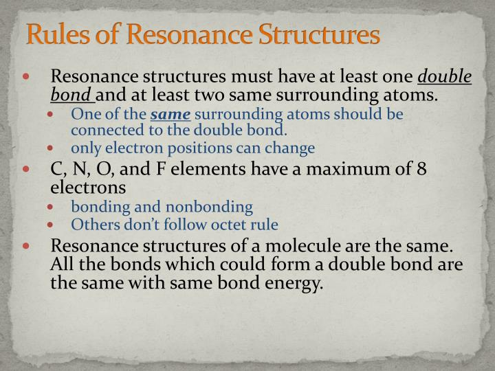 Rules of Resonance Structures