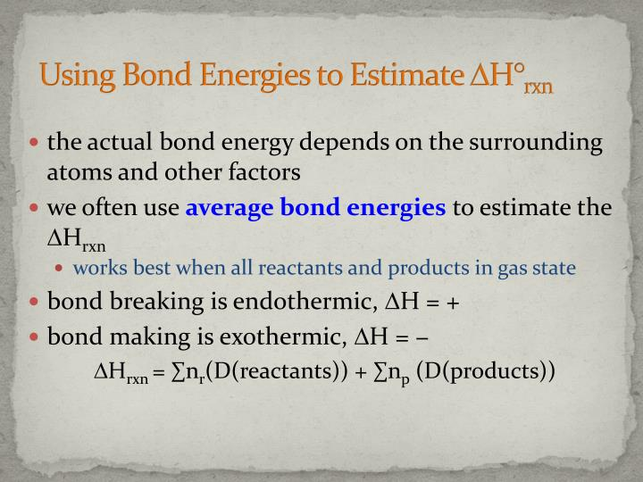 Using Bond Energies to Estimate