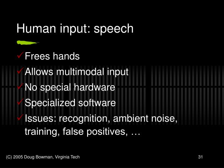 Human input: speech