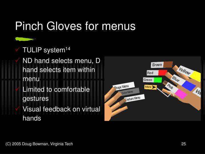 Pinch Gloves for menus
