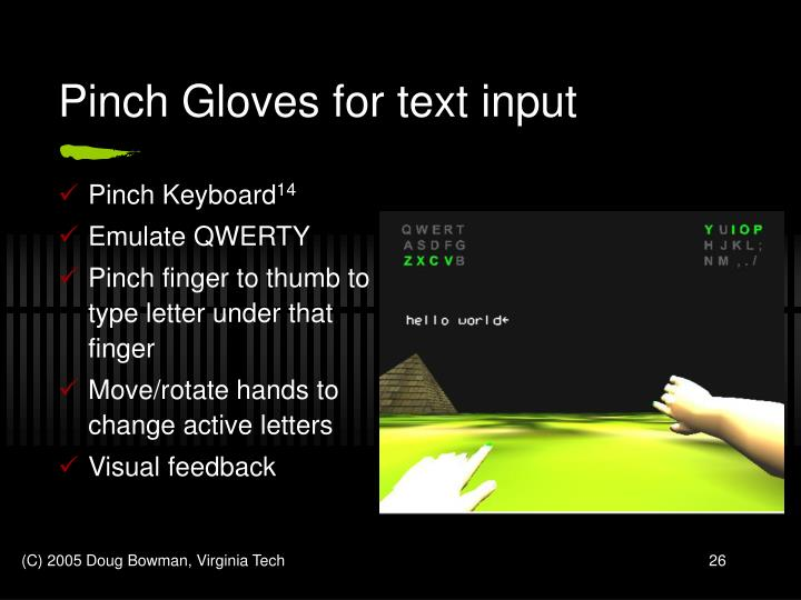 Pinch Gloves for text input