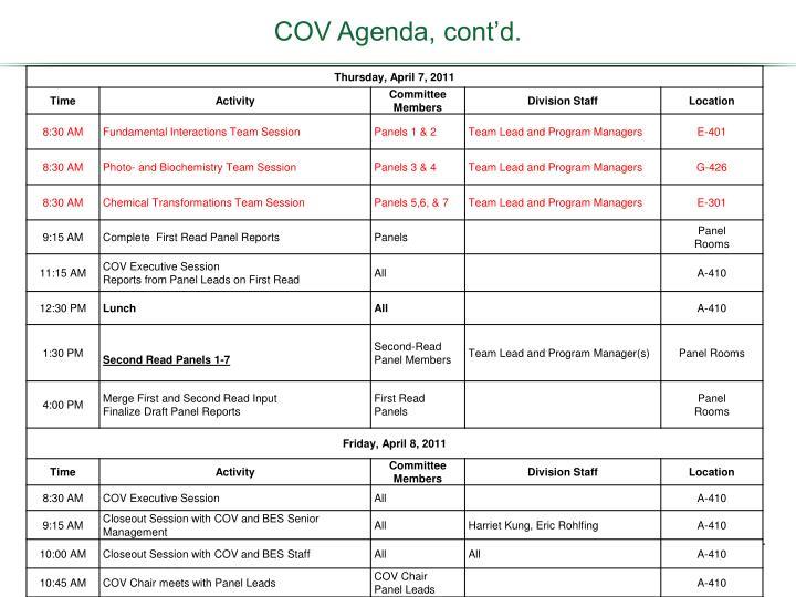 COV Agenda, cont'd.