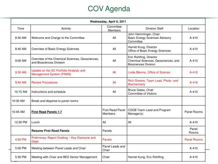 COV Agenda