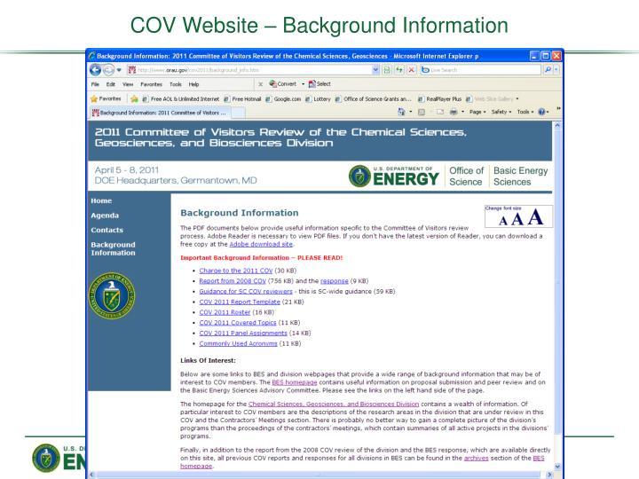 COV Website – Background Information