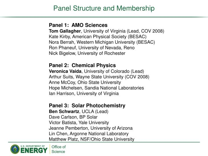 Panel Structure and Membership