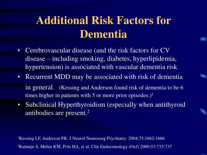 Additional Risk Factors for Dementia
