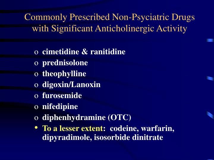 Commonly Prescribed Non-Psyciatric Drugs with Significant Anticholinergic Activity