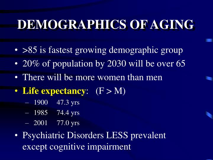 DEMOGRAPHICS OF AGING