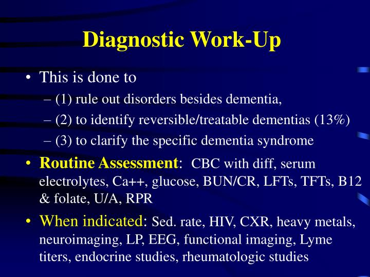 Diagnostic Work-Up